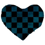 SQUARE1 BLACK MARBLE & TEAL LEATHER Large 19  Premium Flano Heart Shape Cushions
