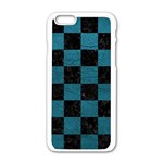 SQUARE1 BLACK MARBLE & TEAL LEATHER Apple iPhone 6/6S White Enamel Case