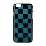 SQUARE1 BLACK MARBLE & TEAL LEATHER Apple iPhone 6/6S Black Enamel Case