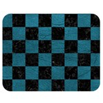SQUARE1 BLACK MARBLE & TEAL LEATHER Double Sided Flano Blanket (Medium)