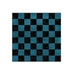 SQUARE1 BLACK MARBLE & TEAL LEATHER Satin Bandana Scarf