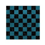 SQUARE1 BLACK MARBLE & TEAL LEATHER Small Satin Scarf (Square)