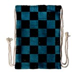 SQUARE1 BLACK MARBLE & TEAL LEATHER Drawstring Bag (Large)