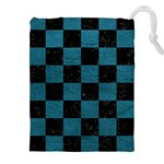SQUARE1 BLACK MARBLE & TEAL LEATHER Drawstring Pouches (XXL)