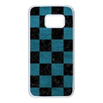 SQUARE1 BLACK MARBLE & TEAL LEATHER Samsung Galaxy S7 White Seamless Case