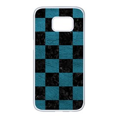SQUARE1 BLACK MARBLE & TEAL LEATHER Samsung Galaxy S7 edge White Seamless Case