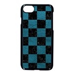 SQUARE1 BLACK MARBLE & TEAL LEATHER Apple iPhone 7 Seamless Case (Black)