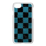 SQUARE1 BLACK MARBLE & TEAL LEATHER Apple iPhone 7 Seamless Case (White)