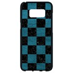 SQUARE1 BLACK MARBLE & TEAL LEATHER Samsung Galaxy S8 Black Seamless Case