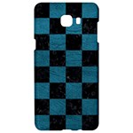 SQUARE1 BLACK MARBLE & TEAL LEATHER Samsung C9 Pro Hardshell Case