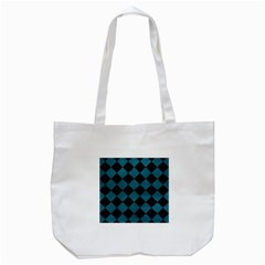 Square2 Black Marble & Teal Leather Tote Bag (white) by trendistuff