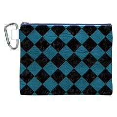 Square2 Black Marble & Teal Leather Canvas Cosmetic Bag (xxl) by trendistuff