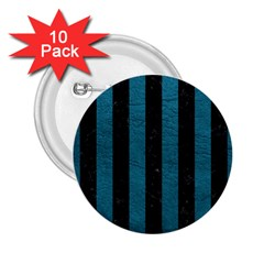 Stripes1 Black Marble & Teal Leather 2 25  Buttons (10 Pack)  by trendistuff