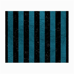 Stripes1 Black Marble & Teal Leather Small Glasses Cloth by trendistuff