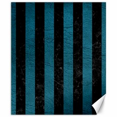 Stripes1 Black Marble & Teal Leather Canvas 8  X 10  by trendistuff