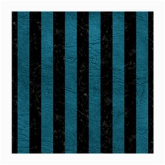 Stripes1 Black Marble & Teal Leather Medium Glasses Cloth (2 Side) by trendistuff