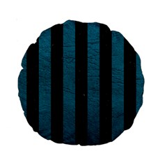 Stripes1 Black Marble & Teal Leather Standard 15  Premium Round Cushions by trendistuff