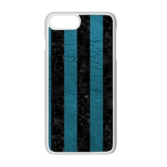 Stripes1 Black Marble & Teal Leather Apple Iphone 8 Plus Seamless Case (white)