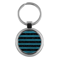 Stripes2 Black Marble & Teal Leather Key Chains (round)  by trendistuff
