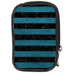 Stripes2 Black Marble & Teal Leather Compact Camera Cases by trendistuff