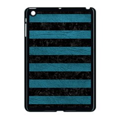 Stripes2 Black Marble & Teal Leather Apple Ipad Mini Case (black) by trendistuff