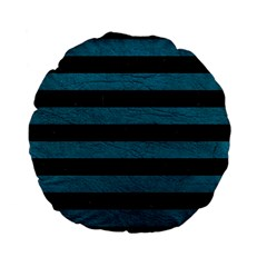 Stripes2 Black Marble & Teal Leather Standard 15  Premium Flano Round Cushions by trendistuff