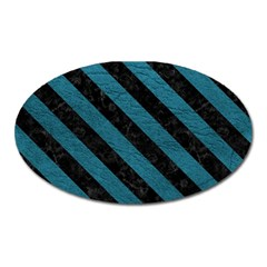 Stripes3 Black Marble & Teal Leather Oval Magnet by trendistuff