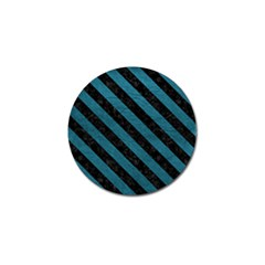 Stripes3 Black Marble & Teal Leather Golf Ball Marker by trendistuff