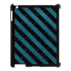 Stripes3 Black Marble & Teal Leather Apple Ipad 3/4 Case (black) by trendistuff