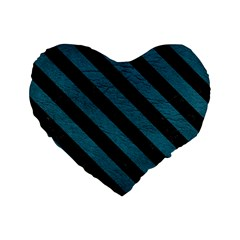Stripes3 Black Marble & Teal Leather Standard 16  Premium Heart Shape Cushions by trendistuff