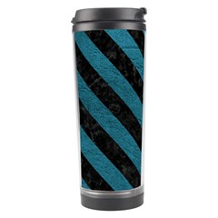 Stripes3 Black Marble & Teal Leather Travel Tumbler by trendistuff