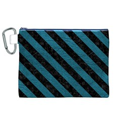 Stripes3 Black Marble & Teal Leather Canvas Cosmetic Bag (xl) by trendistuff