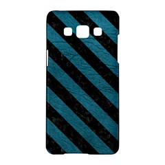 Stripes3 Black Marble & Teal Leather Samsung Galaxy A5 Hardshell Case  by trendistuff