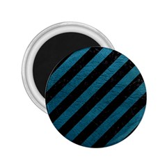 Stripes3 Black Marble & Teal Leather (r) 2 25  Magnets by trendistuff