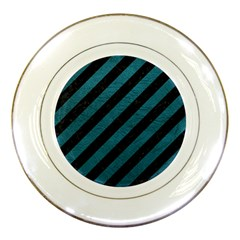 Stripes3 Black Marble & Teal Leather (r) Porcelain Plates by trendistuff