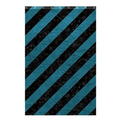 Stripes3 Black Marble & Teal Leather (r) Shower Curtain 48  X 72  (small)  by trendistuff