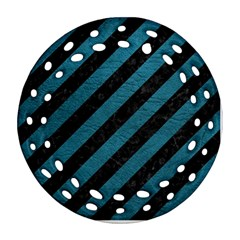 Stripes3 Black Marble & Teal Leather (r) Ornament (round Filigree) by trendistuff