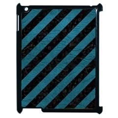 Stripes3 Black Marble & Teal Leather (r) Apple Ipad 2 Case (black) by trendistuff