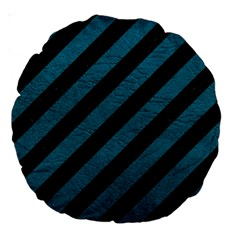 Stripes3 Black Marble & Teal Leather (r) Large 18  Premium Round Cushions by trendistuff