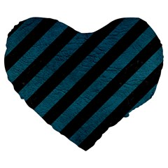 Stripes3 Black Marble & Teal Leather (r) Large 19  Premium Flano Heart Shape Cushions by trendistuff