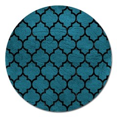 Tile1 Black Marble & Teal Leather Magnet 5  (round) by trendistuff
