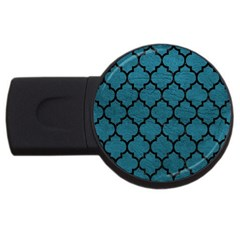 Tile1 Black Marble & Teal Leather Usb Flash Drive Round (4 Gb) by trendistuff