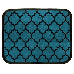 Tile1 Black Marble & Teal Leather Netbook Case (xl)  by trendistuff