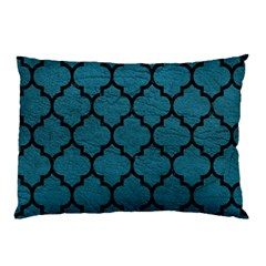 Tile1 Black Marble & Teal Leather Pillow Case (two Sides)