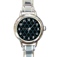 Tile1 Black Marble & Teal Leather (r) Round Italian Charm Watch by trendistuff