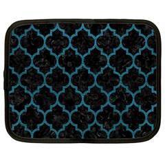 Tile1 Black Marble & Teal Leather (r) Netbook Case (large) by trendistuff