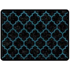 Tile1 Black Marble & Teal Leather (r) Fleece Blanket (large)  by trendistuff