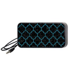 Tile1 Black Marble & Teal Leather (r) Portable Speaker by trendistuff