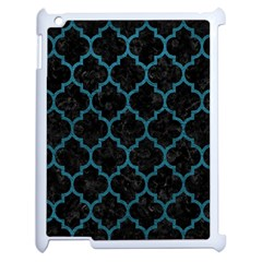 Tile1 Black Marble & Teal Leather (r) Apple Ipad 2 Case (white) by trendistuff