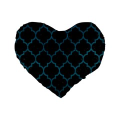 Tile1 Black Marble & Teal Leather (r) Standard 16  Premium Heart Shape Cushions by trendistuff